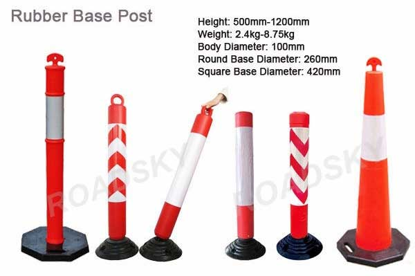 PE rubber base delineator post